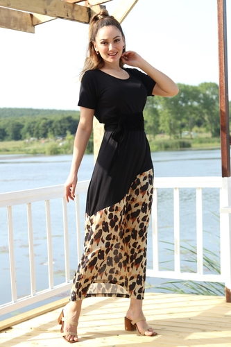 - Etek Leopar Detay Elbise - 5192