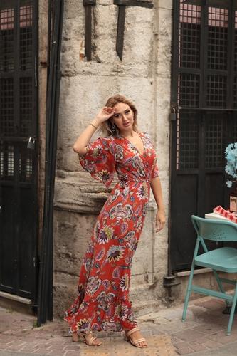 - Kruvaze Yaka Desenli Elbise - 9003