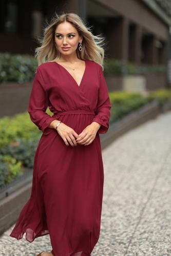 Kıyafetbudur - Kruvaze Yaka Şifon Elbise - 3989 B