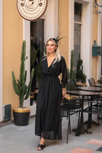 Kıyafetbudur - Kruvaze Yaka Şifon Elbise - 3989 S