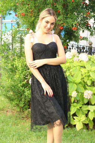 kiyafetbudur - Kurdela Detay Güpür Elbise - 5001