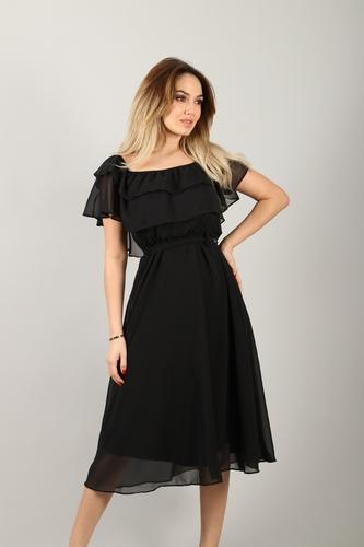 kiyafetbudur - Madonna Yaka Şifon Elbise - 3283 S