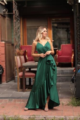Kıyafetbudur - Yeşil Uzun Volan Detay Saten Abiye-8653