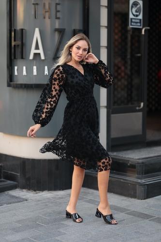 - V Yaka Flok Baskı Midi Elbise-8679